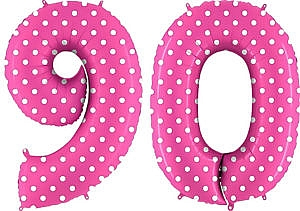 Luftballon Zahl 90 Zahlenballon pink mit weißen Punkten (100 cm)