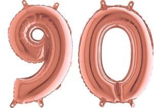 Luftballon Zahl 90 Zahlenballon rosegold (66 cm)
