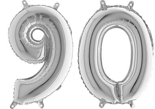 Luftballon Zahl 90 Zahlenballon silber (66 cm)