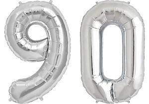 Luftballon Zahl 90 Zahlenballon silber (86 cm)