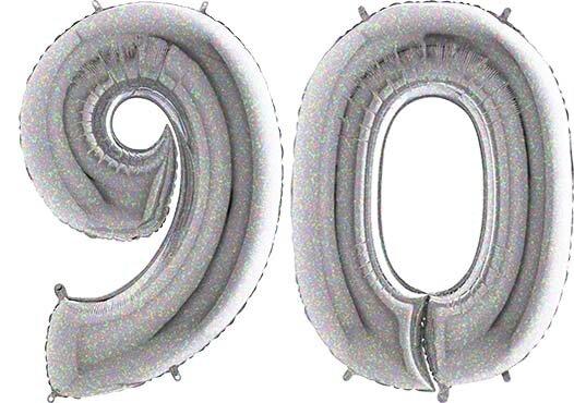 Luftballon Zahl 90 Zahlenballon silber-holographic (100 cm)