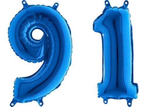 Luftballon Zahl 91 Zahlenballon blau (66 cm)