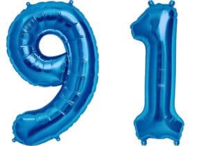 Luftballon Zahl 91 Zahlenballon blau (86 cm)