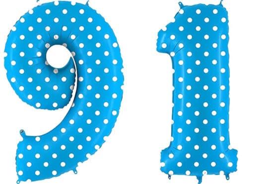 Luftballon Zahl 91 Zahlenballon blau mit weißen Punkten (100 cm)