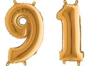 Luftballon Zahl 91 Zahlenballon gold (66 cm)