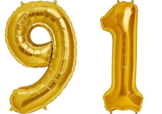 Luftballon Zahl 91 Zahlenballon gold (86 cm)