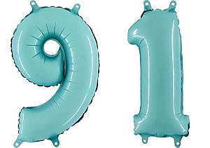 Luftballon Zahl 91 Zahlenballon pastell-blau (100 cm)