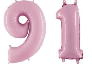 Luftballon Zahl 91 Zahlenballon pastell-pink (100 cm)