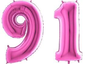 Luftballon Zahl 91 Zahlenballon pink (66 cm)