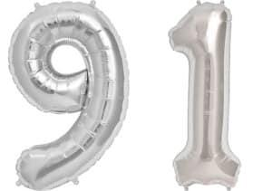 Luftballon Zahl 91 Zahlenballon silber (86 cm)