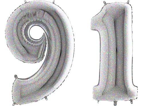 Luftballon Zahl 91 Zahlenballon silber-holographic (100 cm)