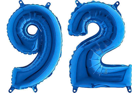 Luftballon Zahl 92 Zahlenballon blau (66 cm)