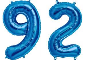 Luftballon Zahl 92 Zahlenballon blau (86 cm)