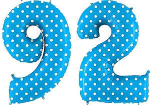 Luftballon Zahl 92 Zahlenballon blau mit weißen Punkten (100 cm)