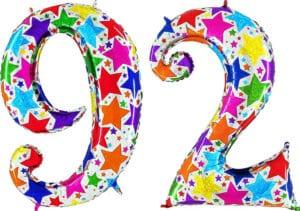 Luftballon Zahl 92 Zahlenballon silber mit bunten Sternen (100 cm)