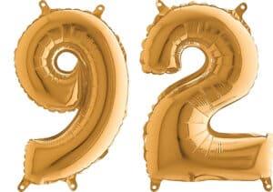 Luftballon Zahl 92 Zahlenballon gold (66 cm)