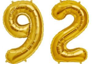 Luftballon Zahl 92 Zahlenballon gold (86 cm)