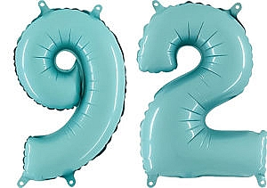 Luftballon Zahl 92 Zahlenballon pastell-blau (100 cm)