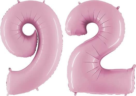 Luftballon Zahl 92 Zahlenballon pastell-pink (100 cm)