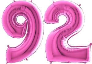 Luftballon Zahl 92 Zahlenballon pink (66 cm)