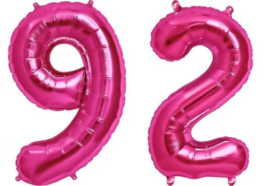 Luftballon Zahl 92 Zahlenballon pink (86 cm)