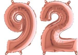 Luftballon Zahl 92 Zahlenballon rosegold (66 cm)