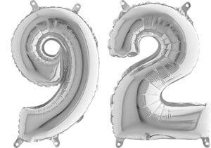 Luftballon Zahl 92 Zahlenballon silber (66 cm)