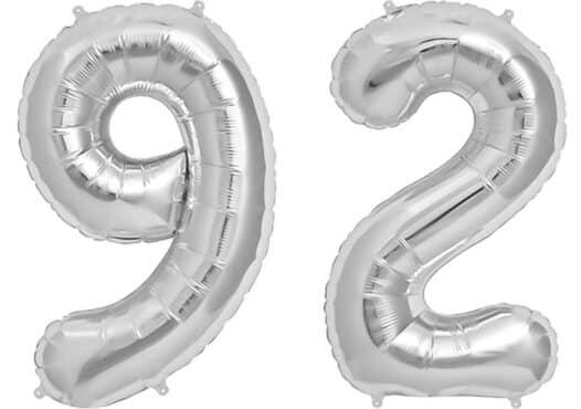 Luftballon Zahl 92 Zahlenballon silber (86 cm)