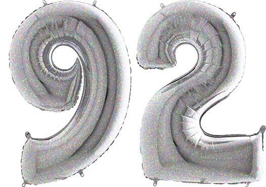 Luftballon Zahl 92 Zahlenballon silber-holographic (100 cm)
