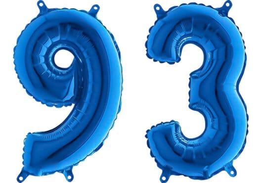 Luftballon Zahl 93 Zahlenballon blau (66 cm)