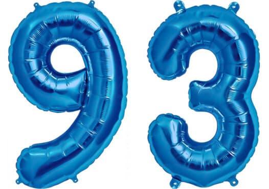 Luftballon Zahl 93 Zahlenballon blau (86 cm)