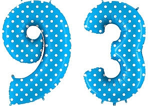 Luftballon Zahl 93 Zahlenballon blau mit weißen Punkten (100 cm)