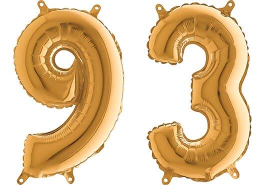 Luftballon Zahl 93 Zahlenballon gold (66 cm)