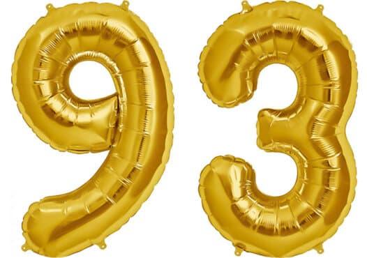 Luftballon Zahl 93 Zahlenballon gold (86 cm)