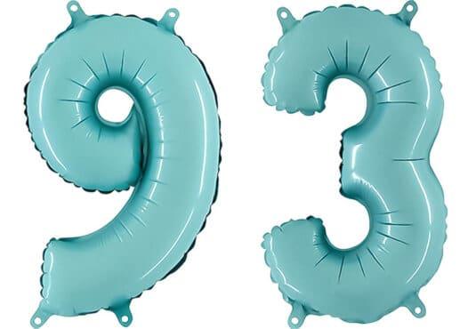 Luftballon Zahl 93 Zahlenballon pastell-blau (100 cm)