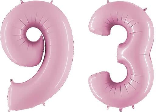 Luftballon Zahl 93 Zahlenballon pastell-pink (100 cm)