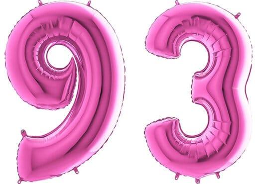 Luftballon Zahl 93 Zahlenballon pink (66 cm)