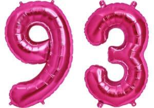 Luftballon Zahl 93 Zahlenballon pink (86 cm)