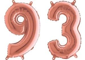 Luftballon Zahl 93 Zahlenballon rosegold (66 cm)
