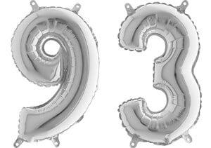 Luftballon Zahl 93 Zahlenballon silber (66 cm)