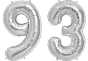 Luftballon Zahl 93 Zahlenballon silber (86 cm)