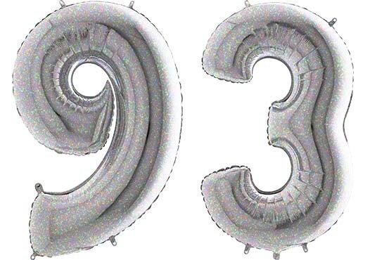 Luftballon Zahl 93 Zahlenballon silber-holographic (100 cm)