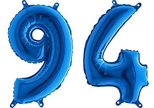 Luftballon Zahl 94 Zahlenballon blau (66 cm)
