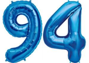 Luftballon Zahl 94 Zahlenballon blau (86 cm)