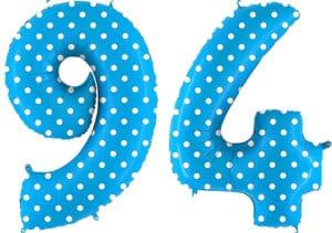 Luftballon Zahl 94 Zahlenballon blau mit weißen Punkten (100 cm)