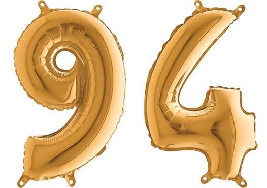 Luftballon Zahl 94 Zahlenballon gold (66 cm)