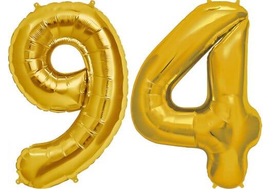 Luftballon Zahl 94 Zahlenballon gold (86 cm)