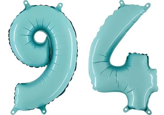 Luftballon Zahl 94 Zahlenballon pastell-blau (100 cm)