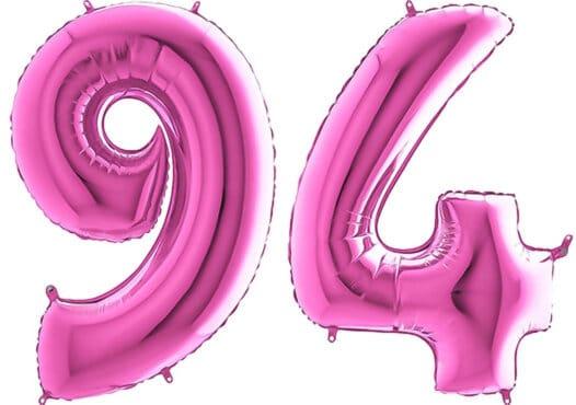 Luftballon Zahl 94 Zahlenballon pink (66 cm)