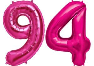 Luftballon Zahl 94 Zahlenballon pink (86 cm)